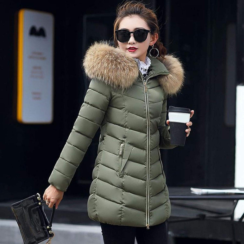 Damen Winterjacke Warme Mantel mit Kapuze Plus Samt Warme Wintermantel Jacke Lange Winter Coat Schlanke Mantel Outwear Winterparka Outdoor Kapuzenjacke Steppjacke Green