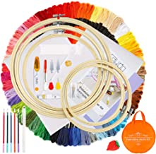 Caydo Embroidery Starter Kit Including 100 Skeins 50 Color Threads, 5 Pieces Bamboo Embroidery Hoops, 2 Pieces Aida Cloth, A Circular Packing Bag and Cross Stitch Tool Kit