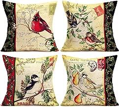 Asamour Vintage Birds Throw Pillow Covers Retro Animal Cardinal Sparrow Robin Bird with Mistletoe Holly Plant Frame Decorative Cotton Linen Throw Pillow Case Cushion Cover for Sofa 18''x18'' Set of 4