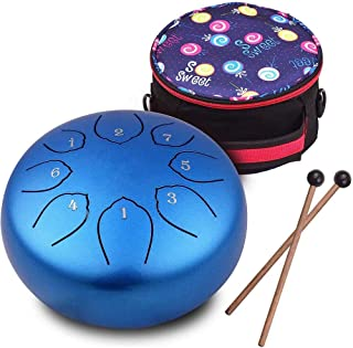 TYJTECH Steel Tongue Drum, 8 Notes 6 Inches Tank Drum...