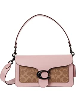 코치 태비백 COACH Coated Canvas Signature Tabby Shoulder Bag 26,Tan/Powder Pink