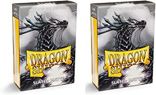 Dragon Shield Bundle: 2 Packs of 60 Count Japanese Size Mini Matte Card Sleeves - Matte Slate