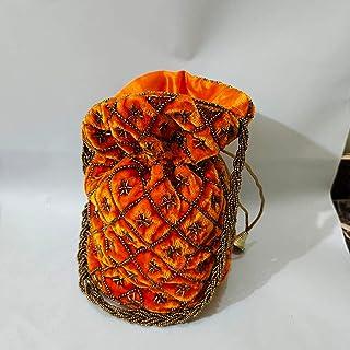 JJ Arts POTLI Bag with Handmade Embroidery with Silk (Orange)