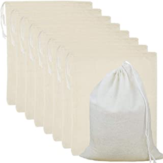 25 Pack Cotton Muslin Bags Reusable Mesh Bags with Drawstring 100% Cotton White