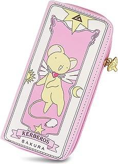 Roffatide Anime Cardcaptor Sakura Wallets for Women Faux Leather Pink Long Wallet Ladies Purse