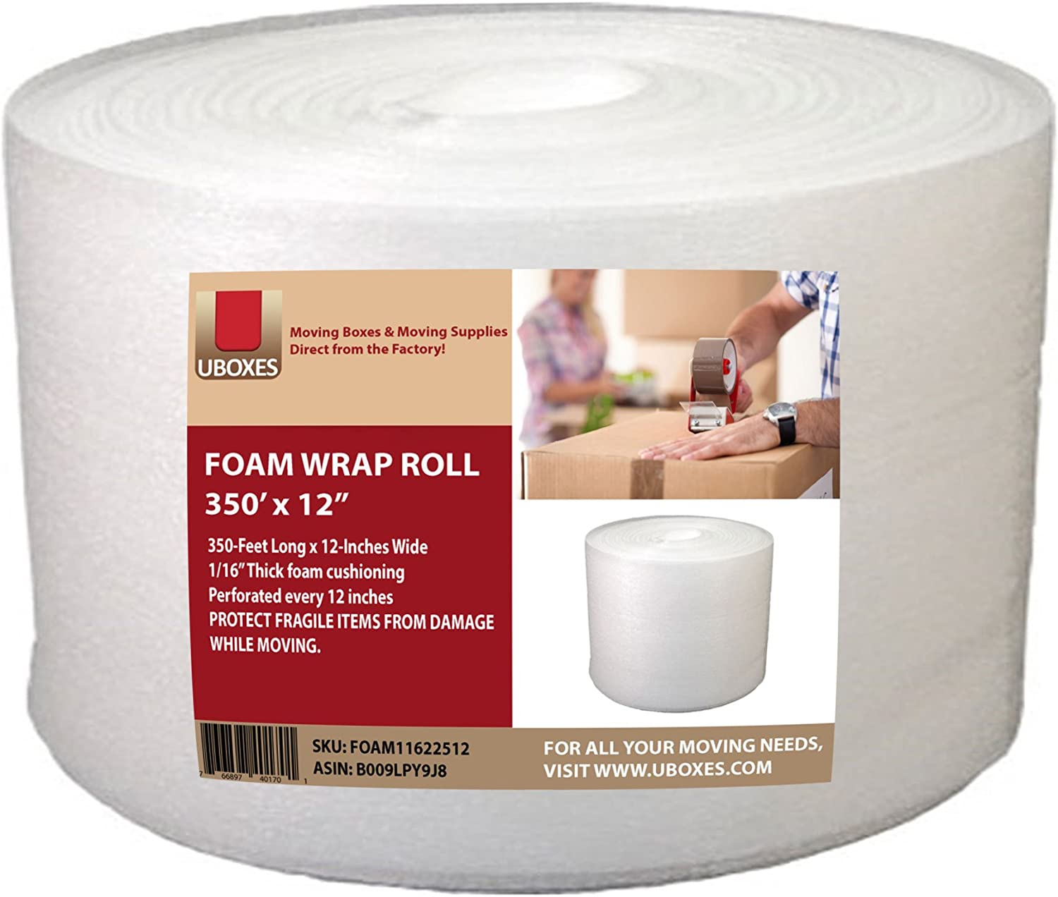 UBOXES Foam Wrap Max 81% OFF Roll 320' x 12