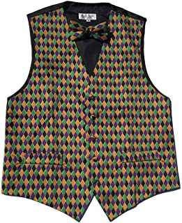 Mardi Gras Style, Vibrant Colorful Harlequin Print Vest & Bow Tie ONLY