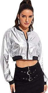 Floerns Women's Long Sleeve Lightweight Crop Bomber Jacket