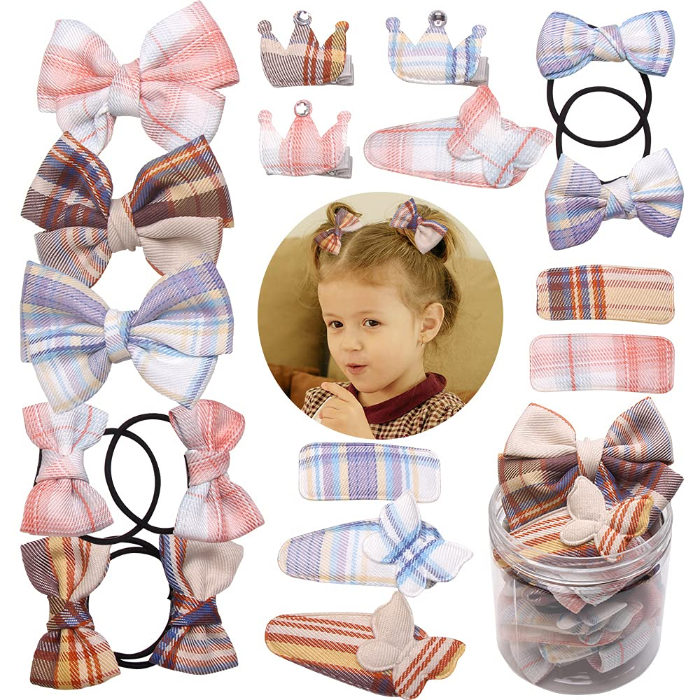 18pcs storage box checked bow hairpin, hairband ponytail combination ribbon baby toddler hair accessories, suitable for children, girls, toddlers hairpin set