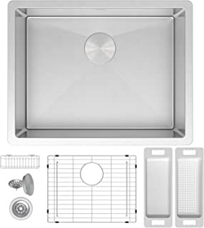 ZUHNE Modena 23 x 18 Inch Single Bowl Under Mount 16 Gauge Stainless Steel Kitchen Sink W. Grate Protector, Drain Strainer and Mounting Clips, Fits 27