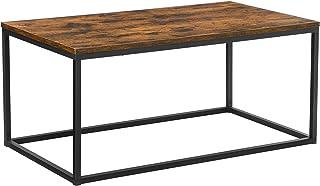 VASAGLE Table Basse pour Salon, avec Cadre en Acier, Facile à Assembler, 100 x 55 x 45 cm, Style Industriel, Marron Rustiq...