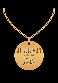 Dad Daughter Necklace - Love Forever - Jewelry Gift Charm From Father - Gold Laser Engraved Pendant