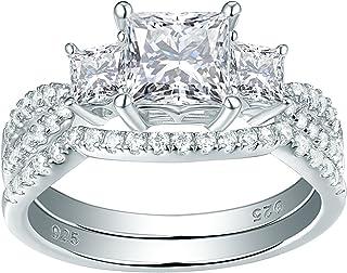 Newshe خواتم زفاف للنساء خاتم الخطوبة ثلاثة أحجار Cz 925 فضة الأميرة الحجم 5-10