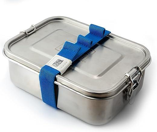 TABLECULT Edelstahl Brotdose mit Fächern, 800ml, Lunchbox mit gratis Besteckband + Flexible Trennwand, auslaufsicher & plastikfrei