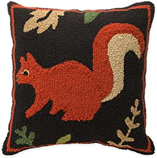 Plow & Hearth Indoor Outdoor Woodland Hooked Decorative Throw Pillow with Squirrel - 17.75 L x 17.75 W x 4.5 H