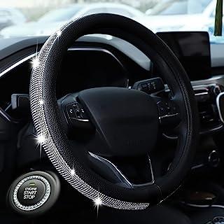 Haokay Bling Steering Wheel Cover for Women Girls, 15 Inch Universal Diamond Leather Steering Wheel Cover with Bling Bling...