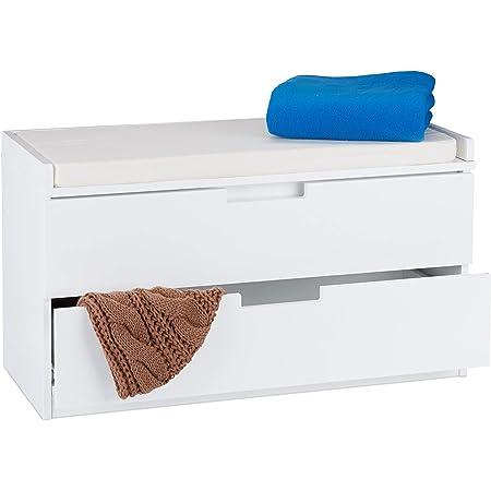 Relaxdays Banc à chaussures, commode rangement, Banquette 2 tiroirs, Meuble entrée, couloir, HLP 45 x 80 x 36 cm, blanc