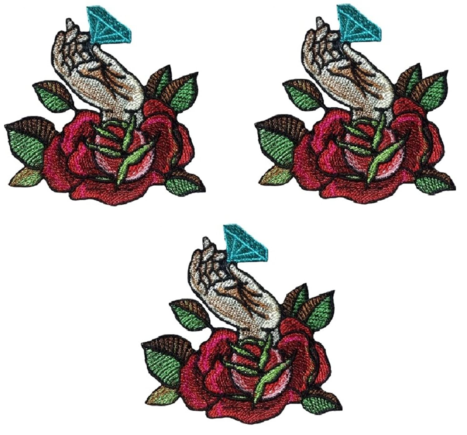 Rose Flower with Diamond Patch Iron on Applique sew (Small, Red Rose)