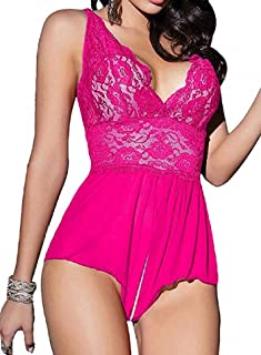Women Teddy Lingerie Nightwear - Sexy One Piece Lace Mesh Babydoll Chemise with Low Back Design