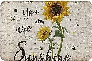 Painted Sunflower and Bees Doormats Entrance Front Door Rugs Decorative Indoor/Bathroom/Kitchen/Bedroom/Entryway Floor Bat...