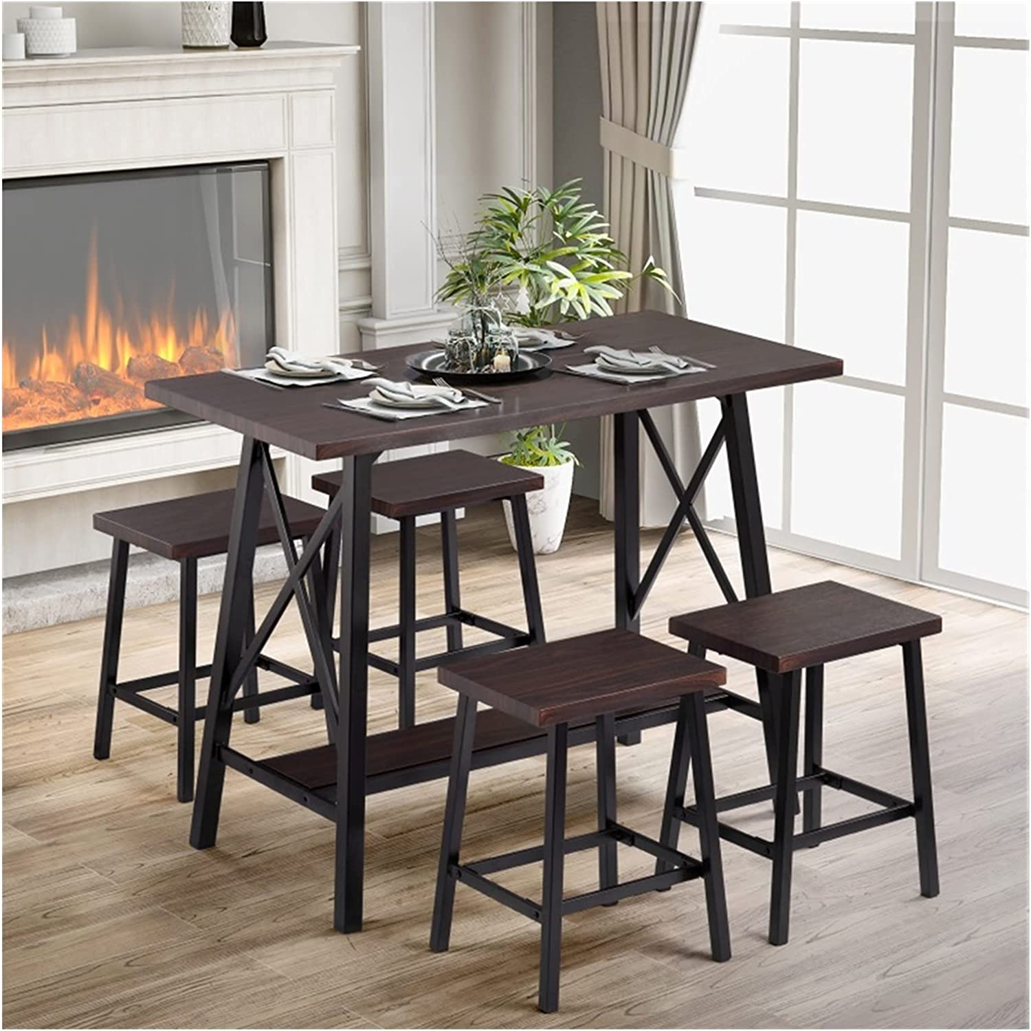 5-Piece Bar Table Max 89% OFF Set Modern Counter with Ba 4 Height Popular products