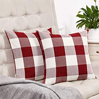 Best Anickal Set of 2 Valentines Day Red and White Buffalo Check Plaid Throw Pillow Covers Farmhouse Decorative Square Pillow Covers 18x18 Inches for Farmhouse Home Decor Review