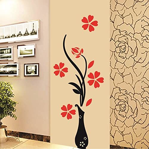Decals Design Wall Sticker 'Red Flowers With Vase Home Office Decoration Vinyl'