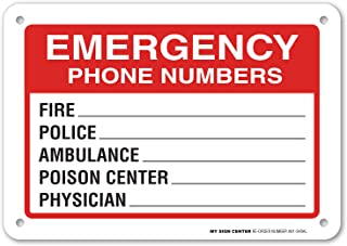 Emergency Phone Numbers Safety Sign - Fire, Police, Ambulance, Poison Center, Physician - 7