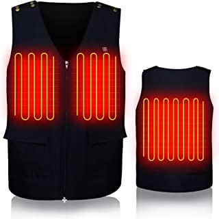 GLOBAL VASION Electric Heated Vest Size Adjustable with Rechargeable Battery Waistcoat for Men(M,L,XL Adjustable) Blue