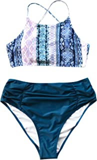 Women's Riddle Story Print Bikini Set Tie Back High Waisted Swimwear
