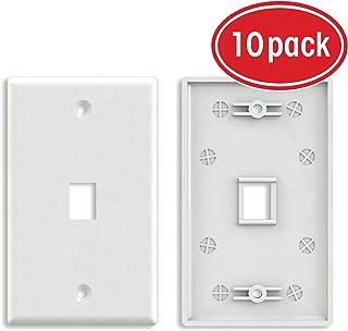 Ethernet Wall Plate, GearIT (10-Pack) 1 Port Cat6 RJ45 Wall Plate Keystone Jack, White (GI-PL-WH-1PT-10PK)