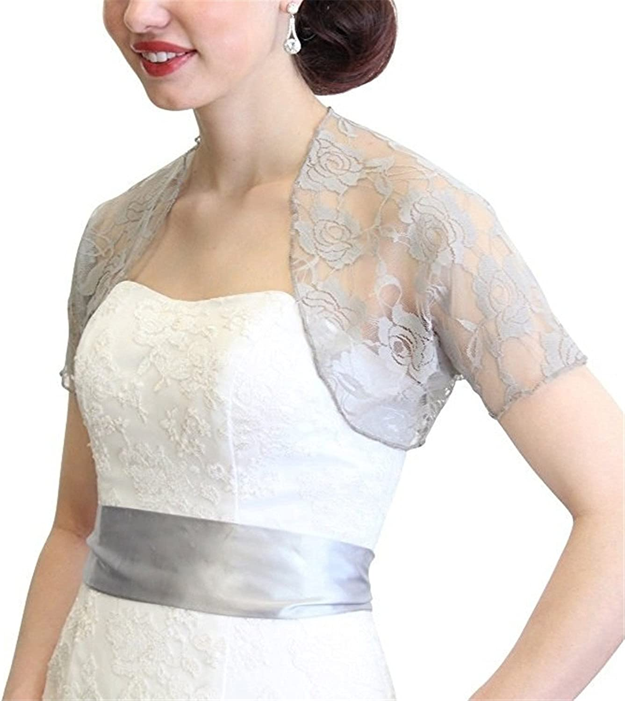 Onlylover Womens Lace Bolero Jacket with Short Sleeve