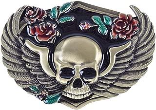 HOMYL Gothic Flower Skull Belt Buckle Western Hiphop Buckle Cowboy Men's Costume Belt Access