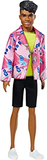 Ken 60th Anniversary Doll in Throwback Rocker Derek Look with Neon Top, Shorts & Shoes for Kids 3 to 8 Years Old