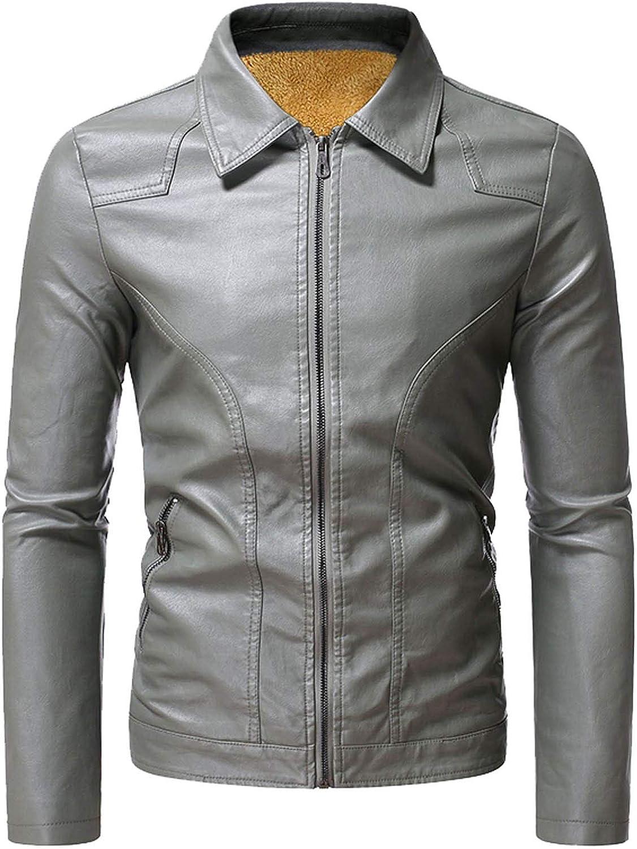 Men Leather Jackets,Vintage Classic Leather Zip Up Biker Bomber Jacket V1660