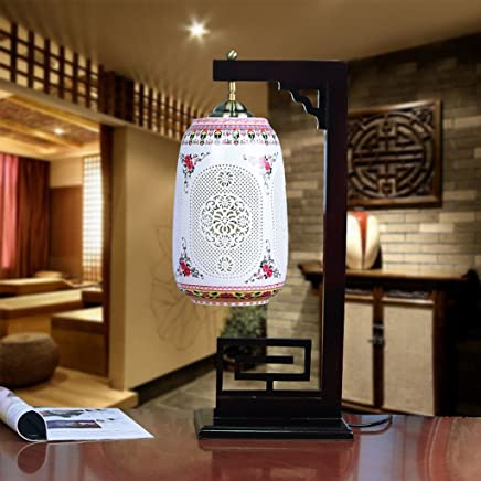 YJH+ テーブルランプ中国の装飾的なリビングルームウェディングお祝いのセラミックランプ 美しく寛大な ( 色 : A )