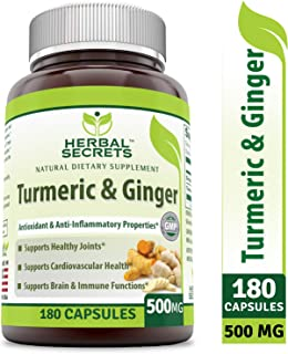 Herbal Secrets Turmeric & Ginger 500 Mg Veggie Capsules (Non-GMO) - Antioxidant & Anti-Inflammatory Properties, Support Digestive Function, Healthy Heart Rate & Brain Function* (180 Count)