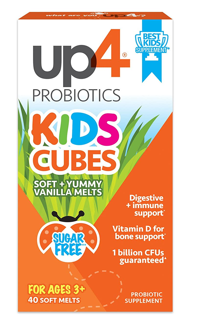 up4 Kids Cubes Probiotic Supplement | Digestive + Immune Support | Vitamin D for Bone Support* | 1 Billion CFUs | Sugar Free, Preservative Free, No Artificial Flavors | 40 Soft + Yummy Vanilla Melts v2991882665