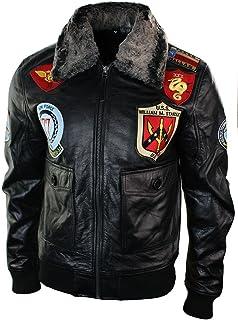 Mens Real Leather US Aviator Air Force Pilot Flying Bomber Jacket Black Fur Collar