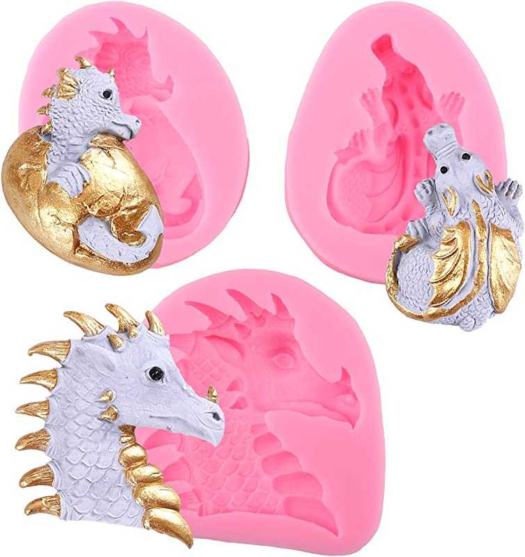 Mujiang 3Pcs Set Dinosaur Egg Easter Fondant Silicone Mold Dragon Candy Mold For Gum Paste Cupcake Topper Decorating Polymer Clay Candy Gummy Wax Crayon