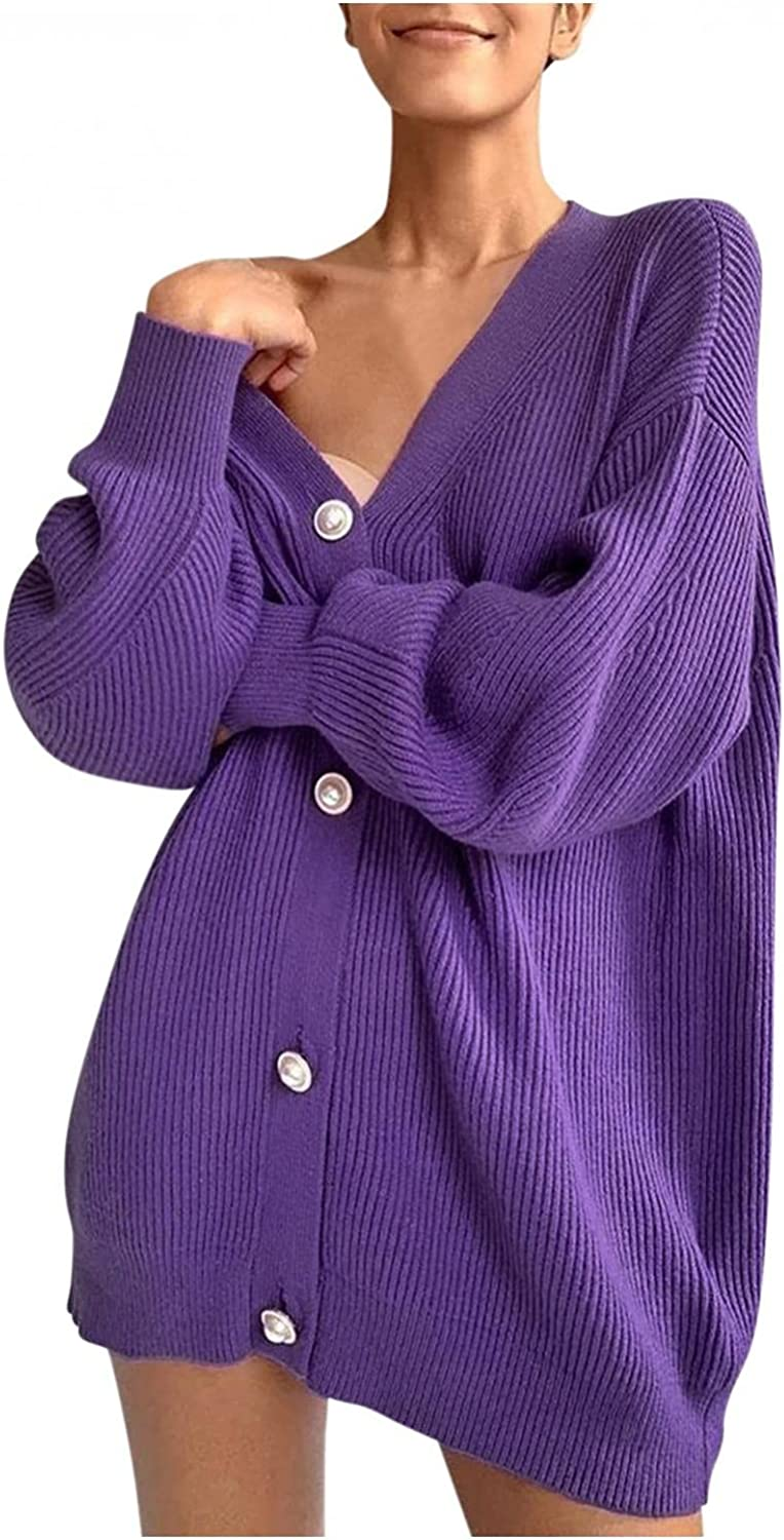 Cardigan Sweaters for Women Lightweight, Solid Color Loose Waffle Knit Drape Outerwear Button Down Long Sleeve Outerwear