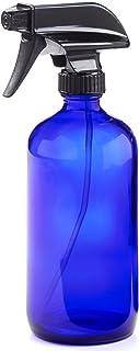 16oz Empty Cobalt Blue Glass Spray Bottles w/Labels and Caps- Mist & Stream Sprayer - BPA Free - Boston Round Heavy Duty B...