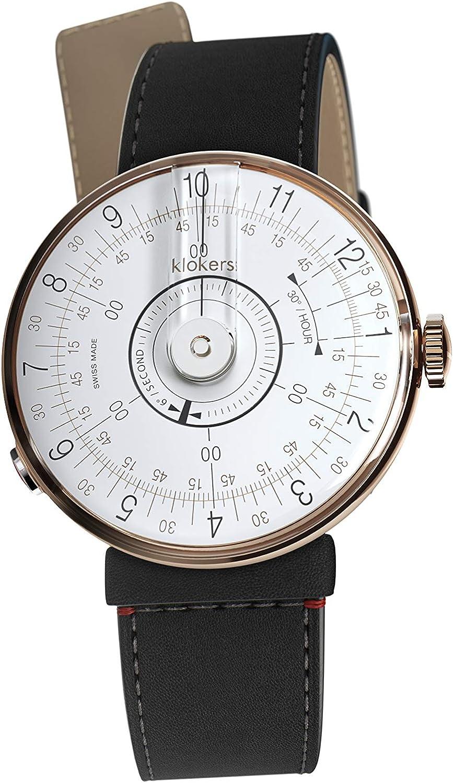 Klokers Klok-08 - Reloj de Pulsera (Piel Negra), Color Oro Rosa