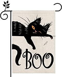 CROWNED BEAUTY Halloween Boo Black Cat Garden Flag Double Sided Vertical 12×18 Inch Spooky Rustic Farmhouse Decor for Seasonal Holiday Yard CF294-12