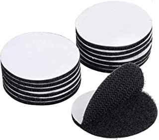 Share 20Pack Heavy Duty Adhesive Tape - Round 6cm Double Sided Hook Loop Dots - Black Mounting Fastener Sticky Back Coins ...