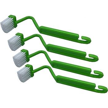 """トイレブラシ 、8""""V字型プラスチックトイレエッジブラシトイレクリーナーブラシクリーニングトイレコーナーリム(グリーン、4枚組)"""
