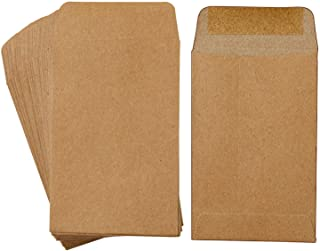 Coobey 120 Pack Self-Adhesive Coin Envelopes Kraft Mini Small Parts Envelopes for Coin Seed Storage, Jewelry, Stamps or Small Parts, 2.25 × 3.5 Inch