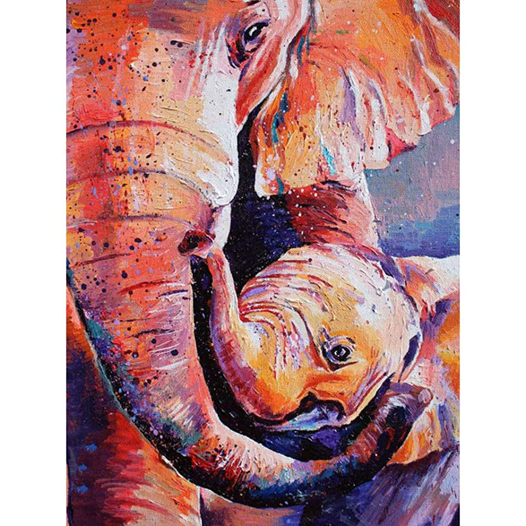DIY 5D Diamond Painting by Number Kits, Crystal Rhinestone Diamond Embroidery Paintings Pictures Arts Craft for Home Wall Decor,Oil Painting Elephant and Little Elephant (J5314-11.8X15.7in)