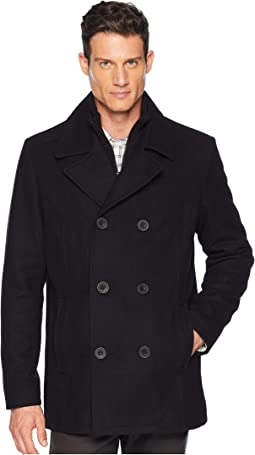 Double Breasted Wool Peacoat w/ Inner Vestie