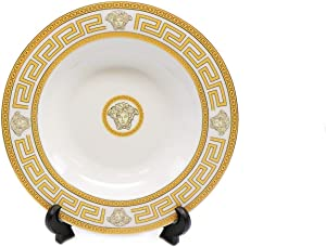 Fine Porcelain Luxurious Dinnerware Set Gold Greek Key Motif - 49 Pieces - Service For 8 Guest - Dishwasher Safe - Gold